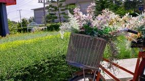 Bouquet des fleurs dans un panier de bicyclette Photos stock