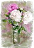 Bouquet des fleurs dans un vase en verre Photo stock