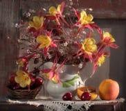 Bouquet des fleurs dans une cruche blanche Photo libre de droits