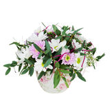 Bouquet des fleurs de Gerbera dans le vase d'isolement sur Backgroun blanc Image libre de droits
