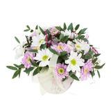 Bouquet des fleurs de Gerbera dans le vase d'isolement sur Backgroun blanc Photos libres de droits
