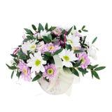 Bouquet des fleurs de Gerbera dans le vase d'isolement sur Backgroun blanc Images libres de droits