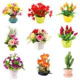 Bouquet des fleurs en plastique Fleurs en plastique réglées sur le backgro blanc Images stock
