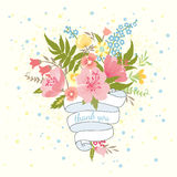 Bouquet des fleurs et du ruban illustration de vecteur