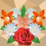 Bouquet des fleurs, rose, lis, fleur de cactus, hippeastrum, vect illustration libre de droits