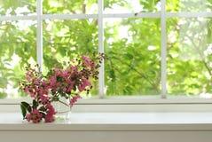 Bouquet des fleurs roses sur un hublot Images libres de droits