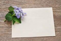 Bouquet des fleurs violettes (odorata d'alto) et de la carte de papier Photographie stock