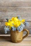 Bouquet des jonquilles et du muscari bleu (jacinthe de raisin) images stock