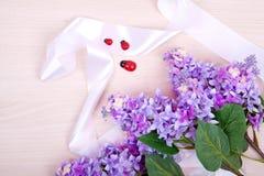 Bouquet des lilas sur un fond en bois Photographie stock libre de droits