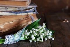 Bouquet des lis frais de la vallée et du rétro livre Images libres de droits