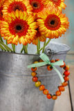 Bouquet des marguerites oranges de gerbera dans le seau argenté Photographie stock