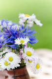 Bouquet des marguerites sur la table dans le jardin Photo stock