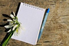 Bouquet des perce-neige blancs avec le bloc-notes et le stylo vides sur le fond en bois Photo stock