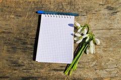 Bouquet des perce-neige blancs avec le bloc-notes et le stylo vides sur le fond en bois Images stock