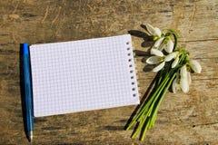 Bouquet des perce-neige blancs avec le bloc-notes et le stylo vides sur le fond en bois Image stock