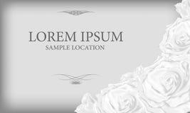 Bouquet des roses blanches avec le texte à la carte ou à l'invitation Photo stock