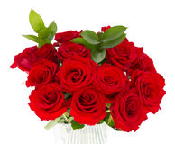 Bouquet des roses dans un vase d'isolement sur le blanc Photographie stock