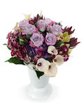 Bouquet des roses, des lis et des orchidées d'isolement Photos stock