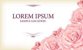 Bouquet des roses roses avec le texte à la carte ou à l'invitation V Images libres de droits