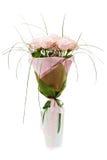 Bouquet des roses roses dans le vase blanc Images stock