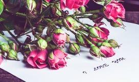 Bouquet des roses roses sur une feuille de papier Images stock
