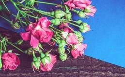 Bouquet des roses roses sur une feuille de papier bleue Images stock