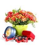 Bouquet des roses rouges dans un vase et un boîte-cadeau Image libre de droits