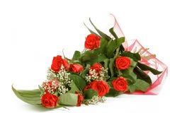 Bouquet des roses rouges fraîches sur le blanc Image libre de droits