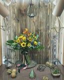 Bouquet des tournesols, ranunkulyus, orchidée, monstera, eucalyptus Photographie stock libre de droits