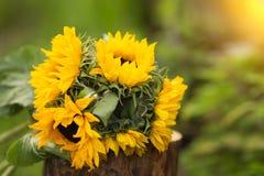 Bouquet des tournesols sur un tronçon Été Coucher du soleil image libre de droits