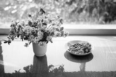 Bouquet des trèfles dans la tasse images stock