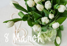 Bouquet des tulipes blanches fraîches Photo stock