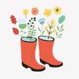 Bouquet des tulipes dans de belles bottes en caoutchouc d'un point de polka Illustration de vecteur Juste plu en fonction illustration libre de droits