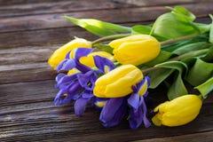 Bouquet des tulipes et des iris jaunes Photo libre de droits