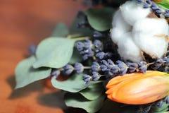 Bouquet des tulipes, eucalyptus, lavande Photographie stock
