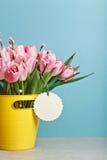 Bouquet des tulipes fraîches roses avec le chat-saule dans le seau jaune Photographie stock