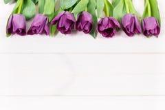 Bouquet des tulipes pourpres pour différentes occasions, l'espace de copie pour le texte sur les conseils blancs Photo libre de droits