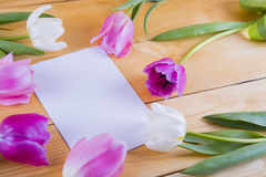 Bouquet des tulipes roses tendres avec la feuille de papier sur le woode léger Photos libres de droits