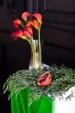 Bouquet des zantedeschias rouges dans un vase en verre avec une grenade et un eucalyptus Images libres de droits