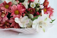 Bouquet of different colors of pink shades royalty free stock photo