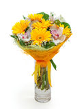Bouquet of different flowers in vase Stock Photography