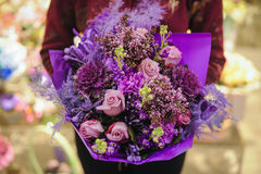 Bouquet of different purple color flowers Royalty Free Stock Photos