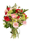 Bouquet with different roses and wood strawberries Stock Photography