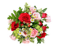 Bouquet with different roses and wood strawberries Royalty Free Stock Photos