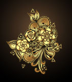 Bouquet doodle flowers floral elements Gold on  black Royalty Free Stock Image