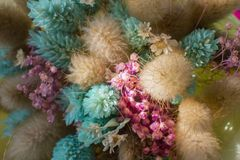 Bouquet of dried flowers. Beautiful multi-colored gift for women. Day of lovers stock photos