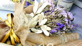 The bouquet of dried flowers. For give to be present for someone in celebration or valentine& x27;s day stock images