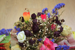 Bouquet of dried flowers for wedding. Bouquet of dried flowers for wedding on wooden table Stock Photo