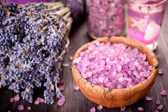 Bouquet of dried lavender and sea salt for spa treatments and relaxation Stock Photo