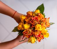 Bouquet of dried roses in hands. Two hands holding a bouquet of dried roses of orange color Stock Photography